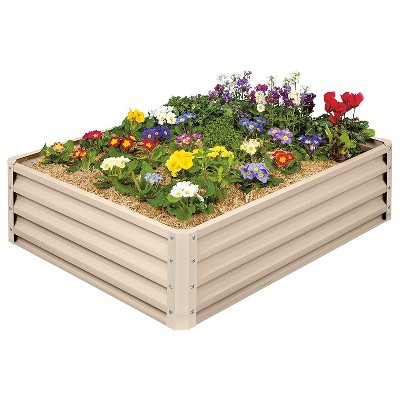 Stratco Raised Galvanized Steel Metal Outdoor Decor Rectangular Garden Bed Veggie Planter Box with 11 Cubic Feet Capacity, 47 x 35 x 12 Inches, Beige