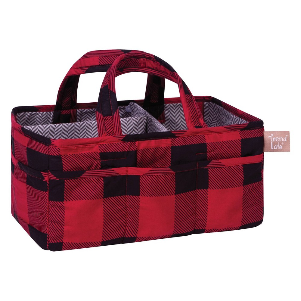 Image of Trend Lab Diaper Caddy Check Red