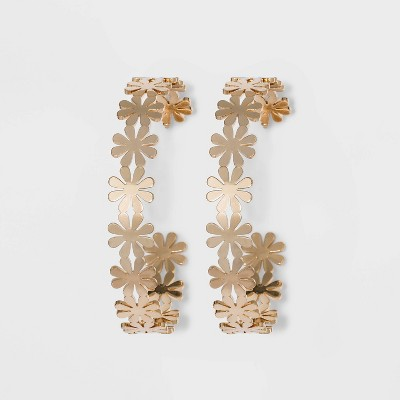 Shiny Gold Daisy Hoop Earrings - Wild Fable™ Gold