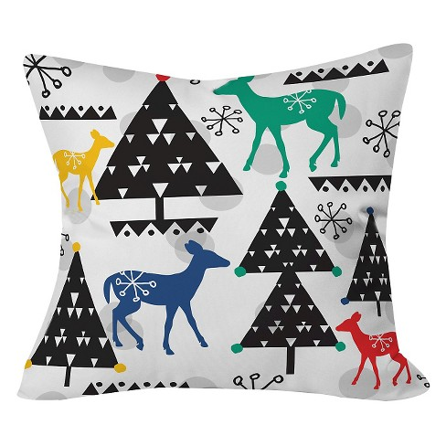 "Geo Woodland Trees Throw Pillow Black (20""x20"") - Deny Designs® - image 1 of 2"