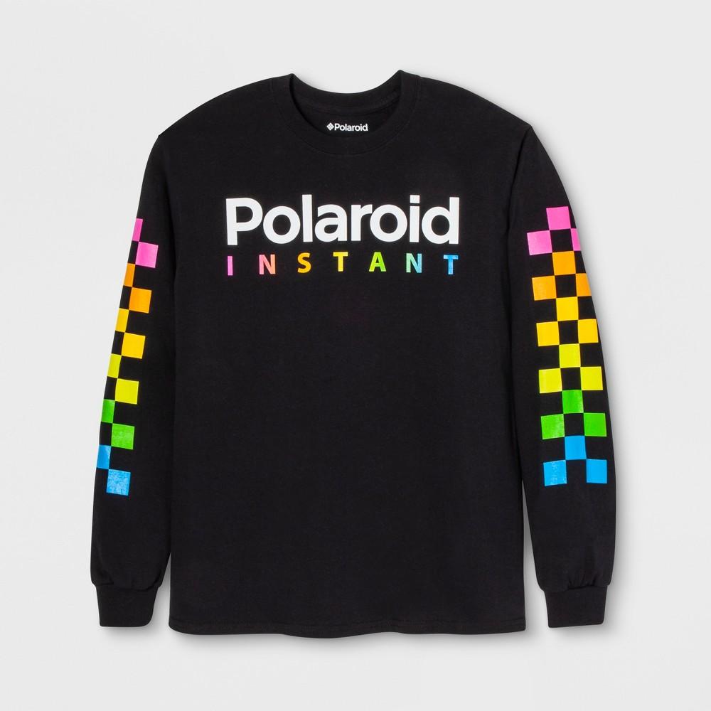 Men's Long Sleeve Polaroid Crew T-Shirt - Black S
