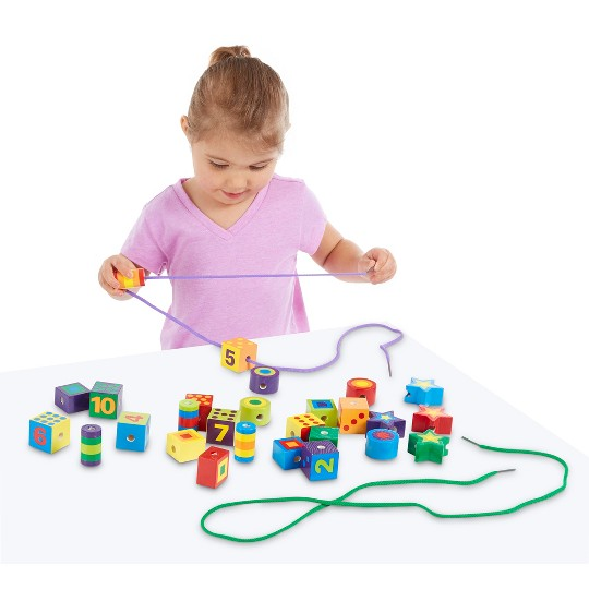 Melissa & Doug Deluxe Wooden Lacing Beads - Educational Activity With 27 Beads and 2 Laces image number null
