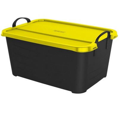 Life Story 55 Quart Plastic Stackable Bin Container, Black & Yellow (12 Pack)