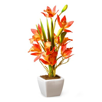 """13"""" Yellow & Orange Orchid Flowers - National Tree Company"""