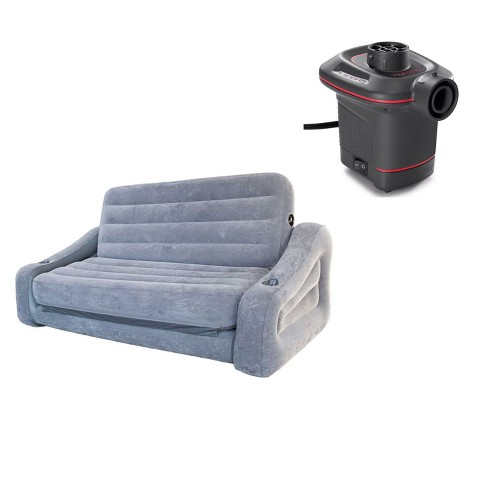 Intex Queen Inflatable Pull Out Sofa Air Mattress 12v Corded
