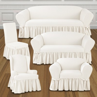 Astounding Essential Twill Ruffle Sofa Slipcover White Sure Fit Pdpeps Interior Chair Design Pdpepsorg