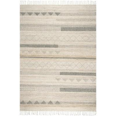 nuLOOM Geometric Stripes Wool Tassel Area Rug