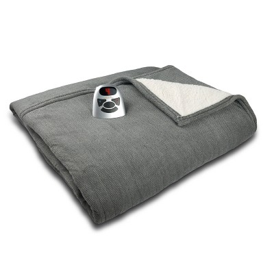 Microplush/Sherpa Electric Heated Blanket (Twin)Gray Herringbone - Biddeford Blankets