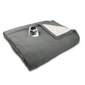 Microplush/Sherpa Electric Blanket (Full) Gray Herringbone - Biddeford Blankets