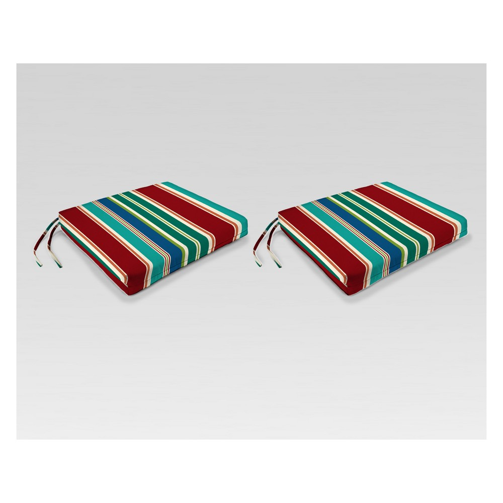 Outdoor Set of 2 French Edge Seat Cushions - Red/Green Stripe - Jordan Manufacturing