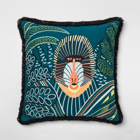 Embroidered Baboon With Fringe Square Throw Pillow Teal - Opalhouse™ - image 1 of 3