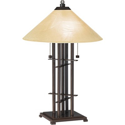 Franklin Iron Works Mission Accent Table Lamp Bronze Cone Alabaster Art Glass Shade for Living Room Family Bedroom Bedside Office