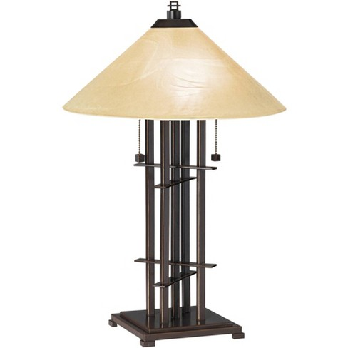 Franklin Iron Works Mission Accent Table Lamp Bronze Cone Alabaster Art Glass Shade for Living Room Family Bedroom Bedside Office - image 1 of 4