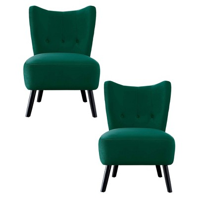 Homelegance Imani Mid Century Modern Velvet Accent Upholstered Living Room Bedroom Lounge Chair, Green (2 Pack)