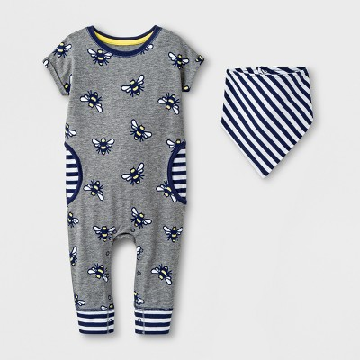 Baby Boys' 2pc Short Sleeve Romper with Bib Set - Cat & Jack™ Gray 3-6M