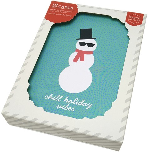 Green Inspired 16ct Holiday Boxed Cards Chill Snowman - image 1 of 2