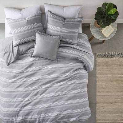 Ansley Striped Organic Cotton Yarn Dyed Comforter Set- Clean Spaces