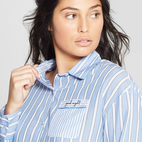 Women s Striped Simply Cool Long Sleeve Button-Up Shirt - Stars Above™ Blue    Target 64e021d8d