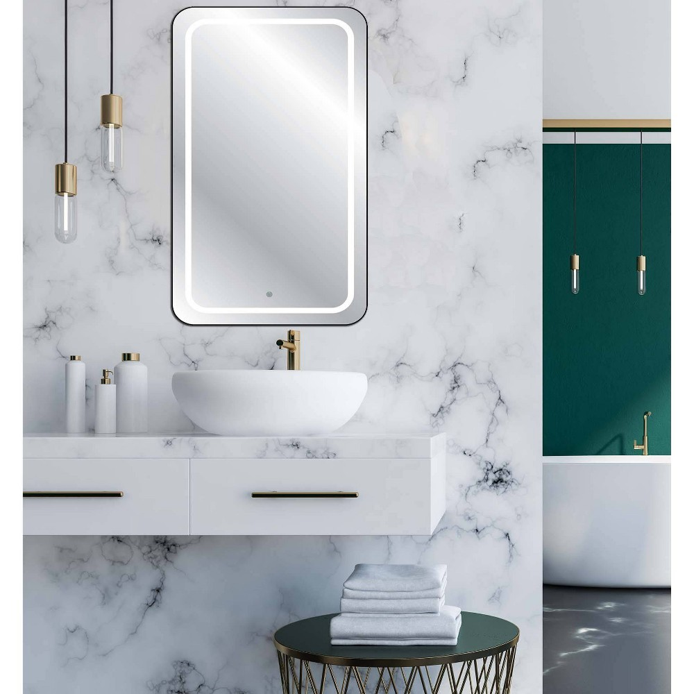 "Image of ""19"""" x 27"""" Touch LED Cordless Lighted Wall Décor Mirror - Celebrity Living, Clear"""