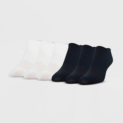 Peds Women's 6pk Ultra Low No Show Liner Casual Socks - Black/White 5-10