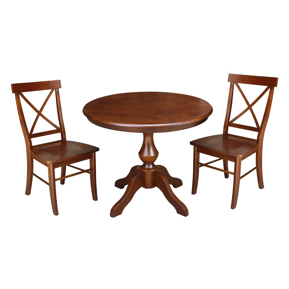 36 3pc Round Top Pedestal Table with 2 Chairs Set Espresso (Brown) - International Concepts