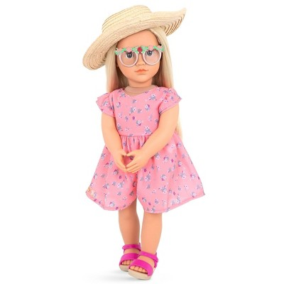 "Our Generation 18"" Doll with Pink Floral Dress - Dahlia"