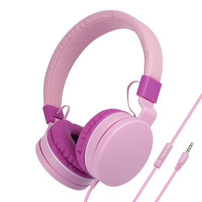 Insten Kids Headphones with Microphone Wired 3.5mm 85dB Safe Volume Limited On-Ear Earphones for Girls Boys Children, Pink
