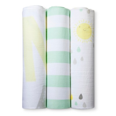 Muslin Swaddle Blankets My Sunshine 3pk - Cloud Island™ - Yellow