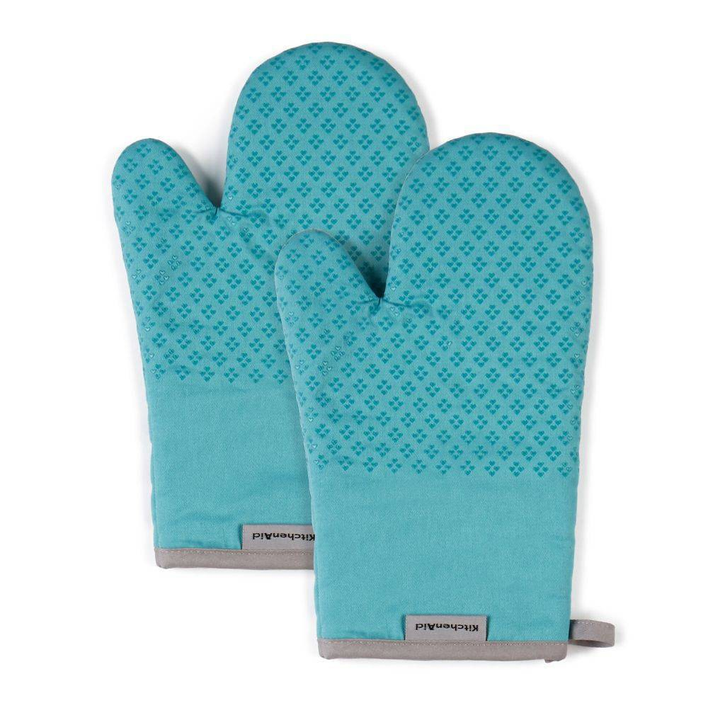 "Image of ""KitchenAid 2pk 7""""X12.5"""" Asteroid Oven Mitts Light Blue"""