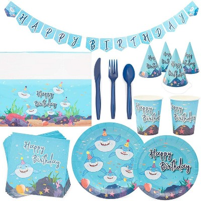 Shark Theme Party Supplies (Serves 24) Knives, Spoons, Forks, Paper Plates, Napkins, Cups, Table Cover, Banner