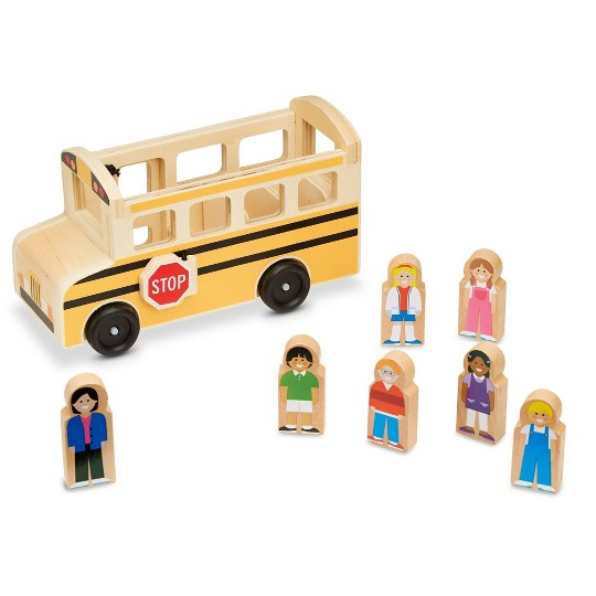 Melissa & Doug School Bus Wooden Play Set With 7 Play Figures image number null