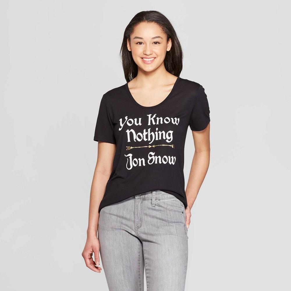 Women's Game of Thrones You Know Nothing Jon Snow Short Sleeve Crewneck T-Shirt (Juniors') - Black M