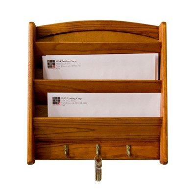 Home Basics 3 Tier Pine Letter Rack with Key Hooks