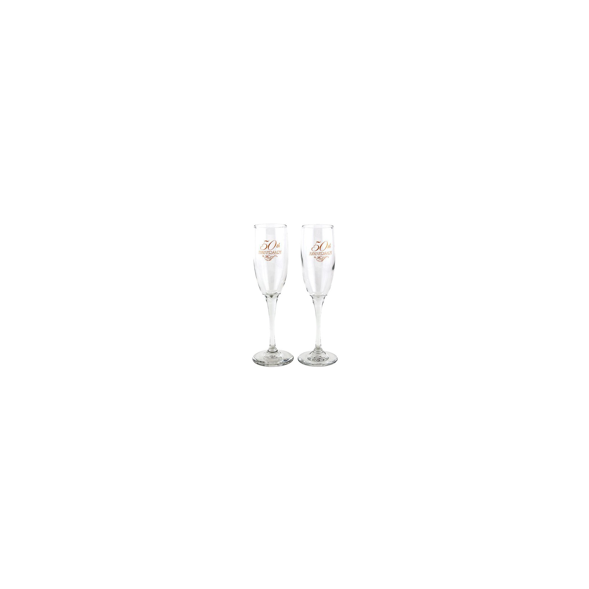 2ct 50th Anniversary Champagne Flutes