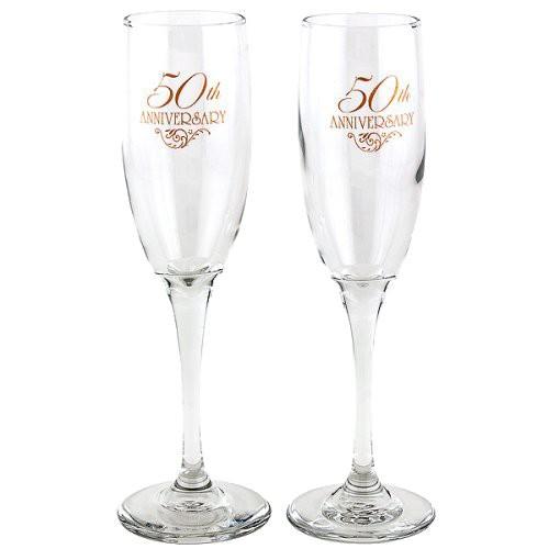 2ct 50th Anniversary Champagne Flutes