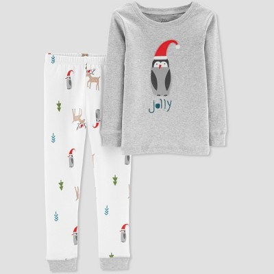 Baby Boys' 2pc Christmas Penguin Pajama Set - Little Planet by Carter's Gray 18M