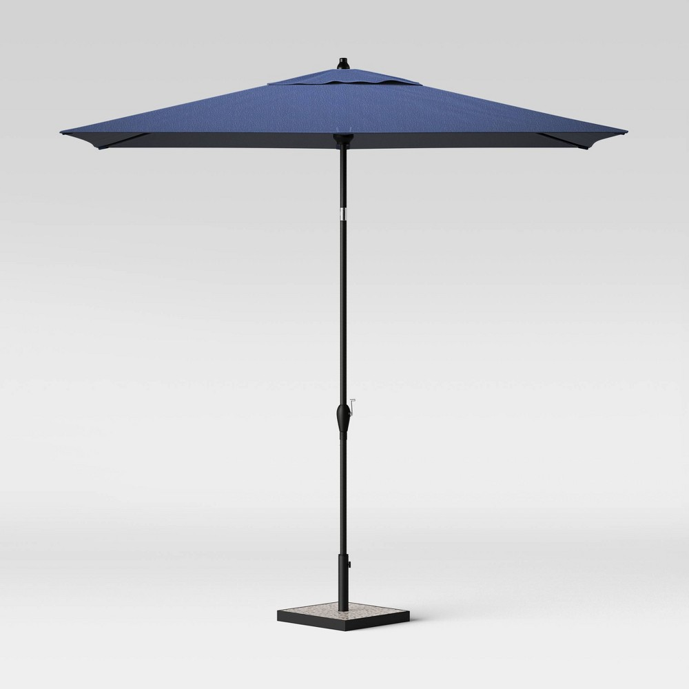 Image of 10' Rectangular Patio Umbrella Denim - Black Pole - Threshold
