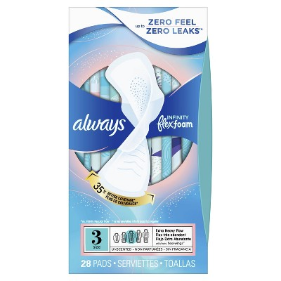 Always Infinity FlexFoam Pads For Women - Extra Heavy Absorbency - Unscented - Size 3 - 28ct : Target