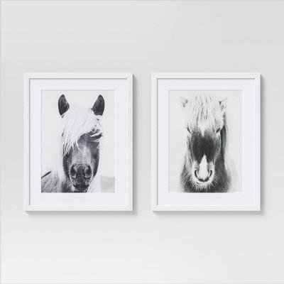 """(Set of 2) 16"""" x 20"""" Horse Portrait Framed Wall Art White/Black - Threshold™"""