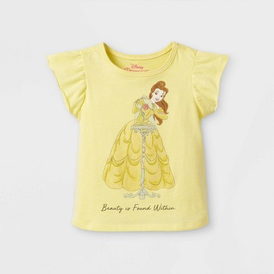 Toddler Girls' Disney Princess Belle 'Beauty Within' Short Sleeve Graphic T-Shirt - Yellow