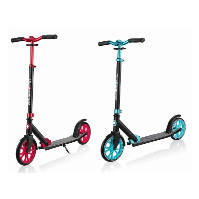 Globber Lightweight Adjustable Foldable 2-Wheel Kick Scooter for Kids, Teens, and Adults, 220 Pound Capacity, Red and Teal (2 Pack)