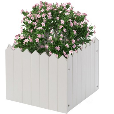 Gardenised Square Traditional Fence Design Vinyl Planter Box