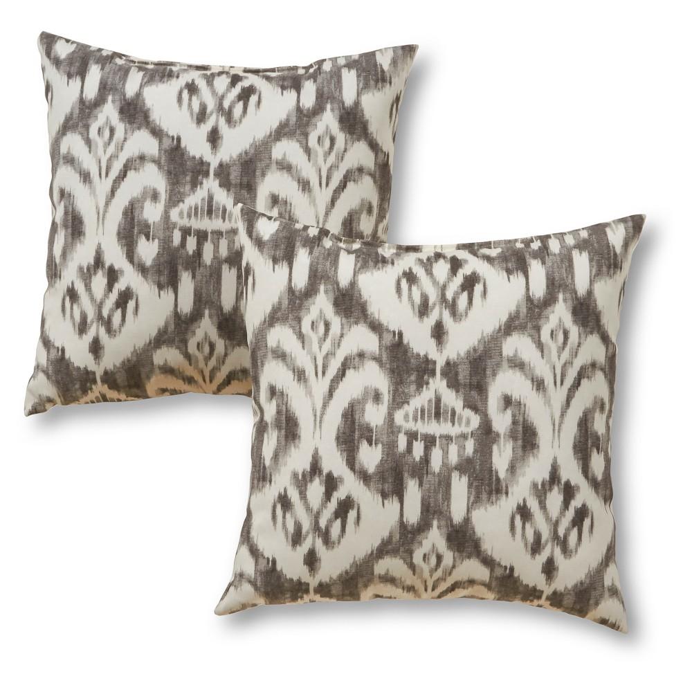 Set Of 2 Outdoor Square Throw Pillows Graphite Ikat Kensington Garden