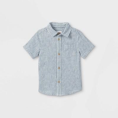 Toddler Boys' Striped Linen Woven Short Sleeve Button-Down Shirt - Cat & Jack™ Blue