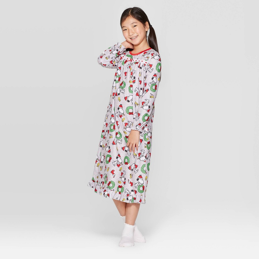 Image of Girls' Peanuts Granny Nightgown - White S, Girl's, Size: Small, Gray