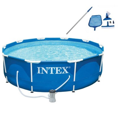 Intex 28201EH 10ft x 30in Metal Frame Round 4 Person Outdoor Above Ground Swimming Pool with Filter Pump and Pool Maintenance Kit