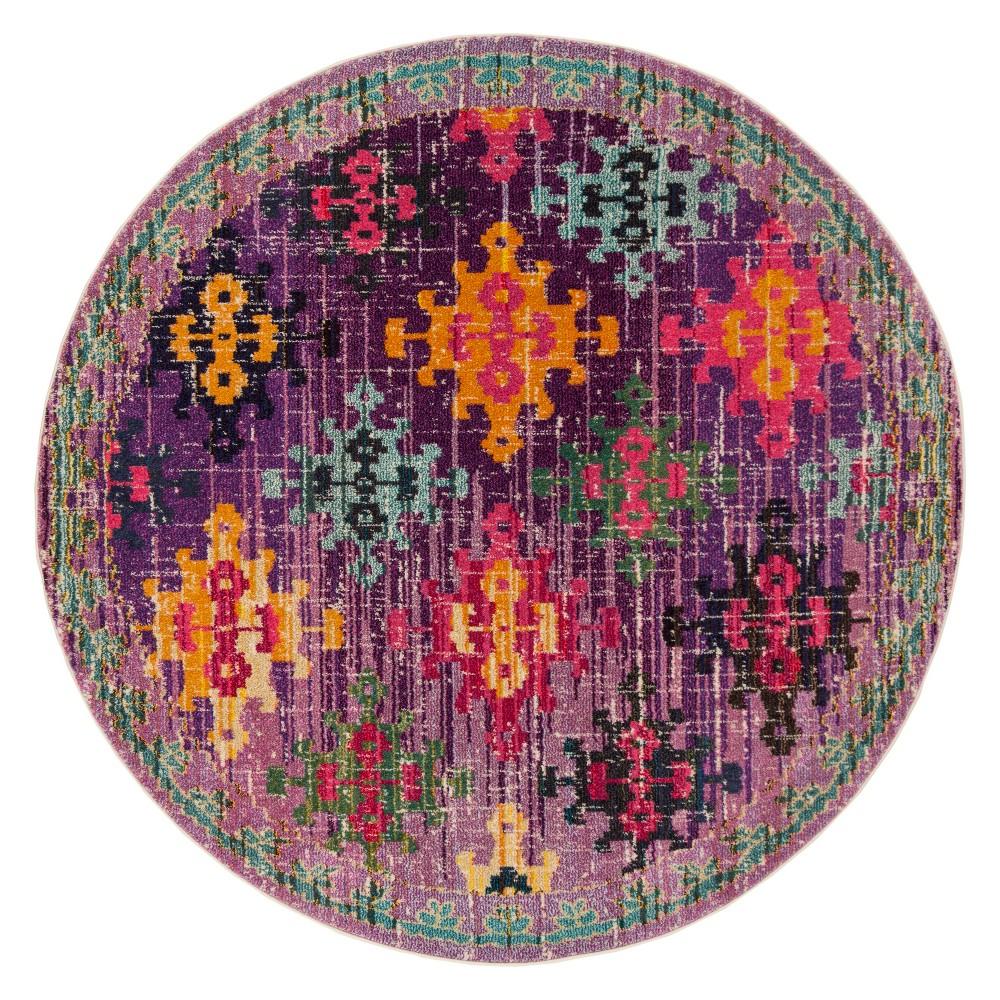 6'7 Medallion Round Area Rug Purple - Safavieh