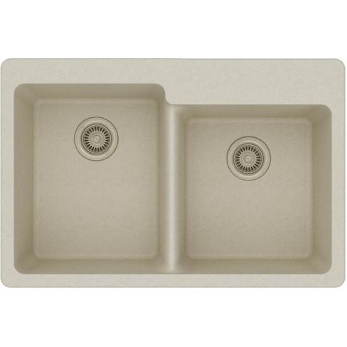 Elkay Elg250r Gourmet 33 Double Basin Granite Composite Kitchen Sink For Drop In Installations