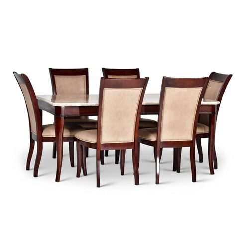 7pc Margot Dining Set Merlot Cherry/Beige Marble - Steve Silver - image 1 of 6