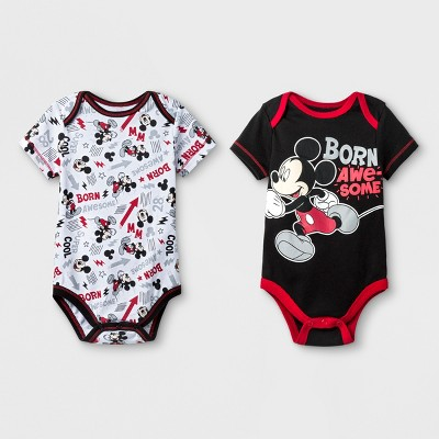 Baby Boys' 2pk Disney Mickey Mouse & Friends Mickey Mouse Bodysuit - Black 3-6M